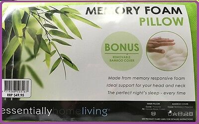 Memory Foam Bamboo Pillow Fibre Fabric Cover Vertebra Care Contour 65 x 45cm AUS