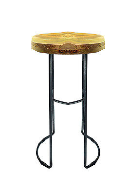 Industrial Kitchen Breakfast Wooden Top Bar Stool With Steel Leg Antique Finish