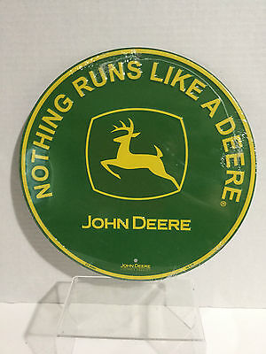 "John Deere Green ""Nothing Runs Like A Deere"" Round Sign"