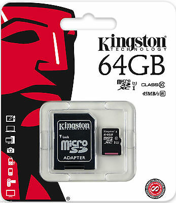 Kingston 64GB Micro SD SDHC / SDXC Class10 Memory Card TF 45MB /s R with Adapter