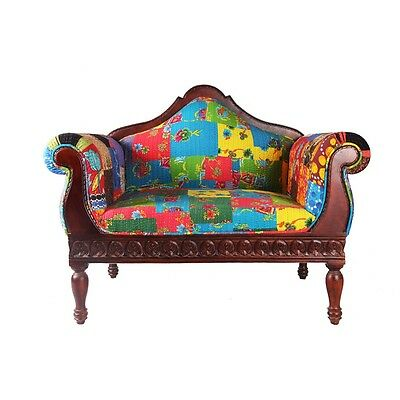 Antique Handmade Two Seater Beautiful Floral Patchwork Wooden Superb Sofa