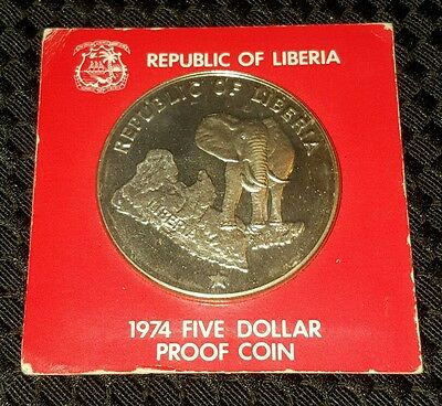 1974 Republic of Liberia, African elephant $5 five dollars silver proof coin