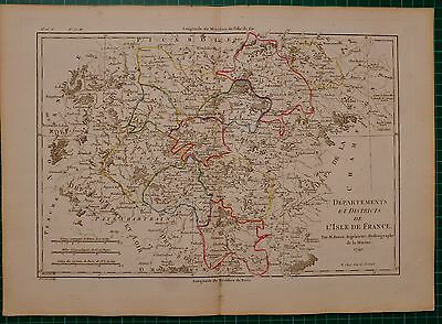 1790 Dated Rigobert Bonne Map ~ Departments And Districts Of Isle De France
