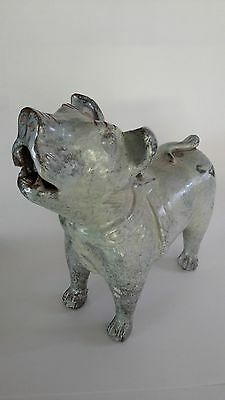 Ancient Chinese Han Dynasty Tomb Dog Replica Sculpture Terracotta Majolica