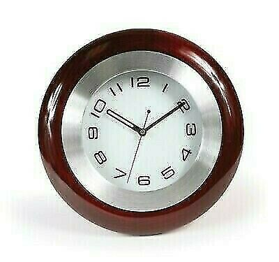 Camco 43781 Brown Battery Operated Wall Clock with Travel-Smart Bracket