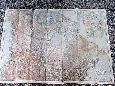 Vtg 1936 National Geographic Society Large Color Map of Canada 567
