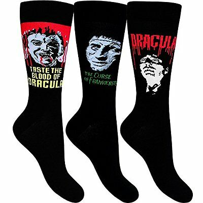 Hammer Horror set of 3 Mens socks size 7-12 Dracula Frankenstein