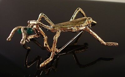 14k Yellow Gold Diamond and Emerald Praying Mantis Pin