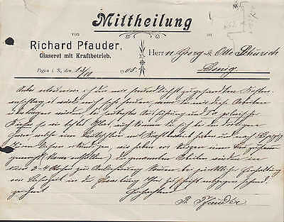 PEGAU i. Sa., Brief 1905, Glaserei mit Kraftbetrieb Richard Pfauder