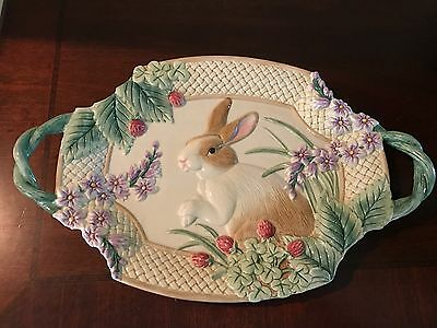 Fitz and Floyd Botanical Bunny Platter 16x10 Rare HTF Easter Rabbit Spring