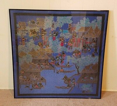 Vintage Died Silk Framed Tapestry Art Embroidery Ink Color Textile Screen 35""