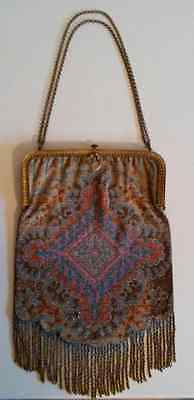Vintage Large Beaded Purse - with Gold Frame, Clasp and Chain - early 1900's