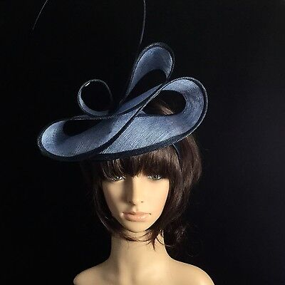 Church Kentucky Derby NAVY BLUE Large Bow Fascinator Dress Wedding Tea Party US