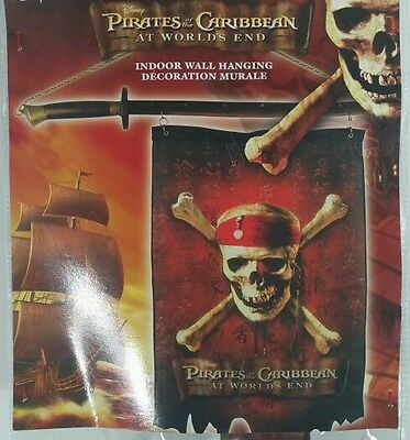 """Disney-Pirates Of The Caribbean -Indoor Wall Hanging On Sword-23""""x15""""-Unique~!~"""