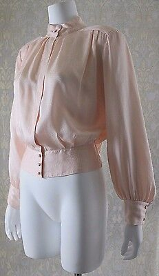 Vtg 80s NEIMAN MARCUS Silk Satin Bishop Sleeve Secretary Blouse Top M L 12