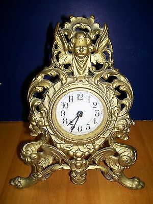 Antique GOLD Gilt Metal Art Nouveau Cherub ANGELS ORNATE Griffins Clock AS IS