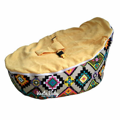 Wondrous Ethnic Prints Yellow Baby Bean Bag Seat Snuggle Bed Gmtry Best Dining Table And Chair Ideas Images Gmtryco