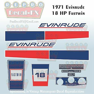 1971 Evinrude 18 HP Fastwin Outboard Repro 10 Piece Marine Vinyl Decal 18102-03