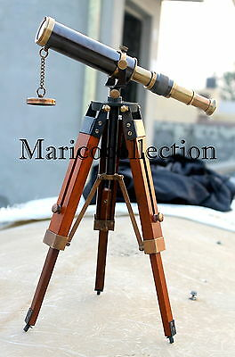 Antique Brass Telescope Marine Navy Pirate Spyglass With Wooden Tripod Decor