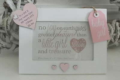 Personalised Baby Frame Girl Birth Keepsake Gift Photo Heart Christening F23