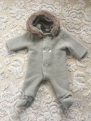 Mebi Snowsuit For Baby 3-6 Months With Hooded Fur  Gray.