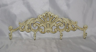 """Cast Iron Wall Hook Heavy Ornate Design Large Cream White 16"""" Victorian Style"""