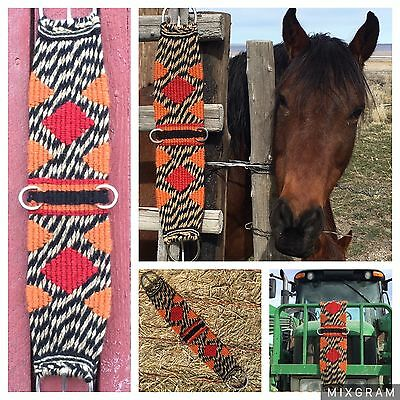 30 inch, 17 strand handmade mohair cinch. Orange, red, and black.