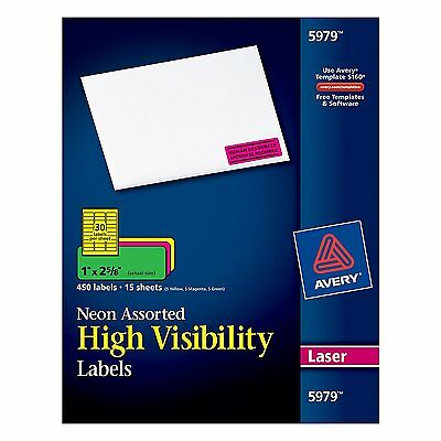 """Avery Neon Laser Labels, Rectangle, Assorted Fluorescent Colors, 1"""" x 2-5/8"""","""