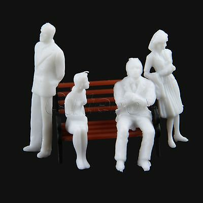 Great Collectible White Unpainted Model Train People Figures 1:100 Plastic 100pc