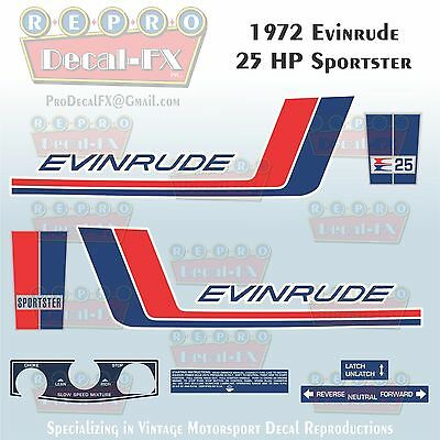1960 Evinrude 18 HP Fastwin Outboard Repro 10Pc Marine Vinyl Decals 15032-15033