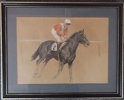 FRAMED GRAPHITE  DRAWING by NIGEL BRUNYEE A STUDY OF A RACE HORSE AT GALLOP