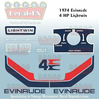 1974 Evinrude 4 HP Lightwin Outboard Repro 10 Piece Marine Vinyl Decals 4406