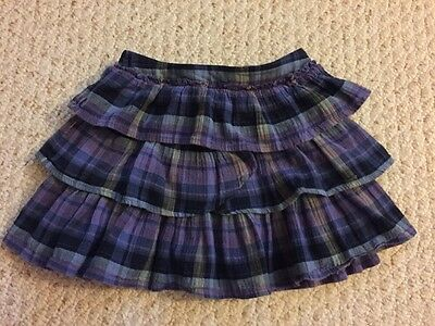 Girl's babyGap Size Toddler 5Y Elastic Waist Blue/Purple Plaid Ruffle Skirt