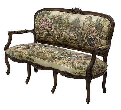 CHARMING TAPESTRY UPHOLSTERED FRENCH LOUIS XV STYLE SOFA / SETTEE, early 1900s