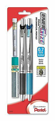 Pentel EnerGize Automatic Pencil with Lead and Erasers, 0.7mm, Assorted, 2 Pack