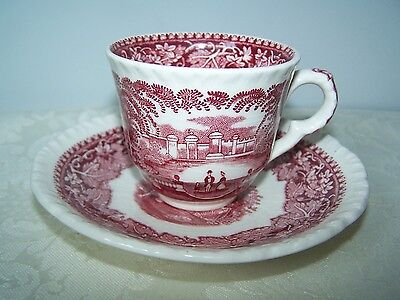 Beautiful Masons / Mason's Pink / Red Vista Demitasse Cup And Saucer