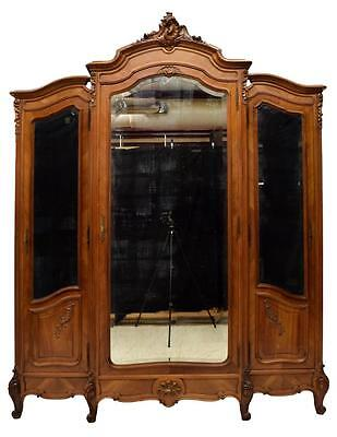 ITALIAN LOUIS XV CARVED WALNUT MIRRORED ARMOIRE, early 1900s