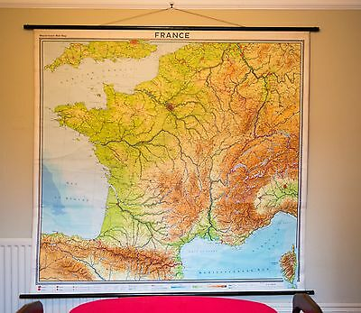 Large Vintage WESTERMANN Canvas School University Wall Map FRANCE 1966