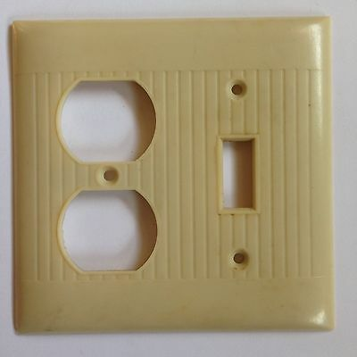Vintage Ivory White Deco Ribbed Plastic Switchplate Light Cover Socket Switch