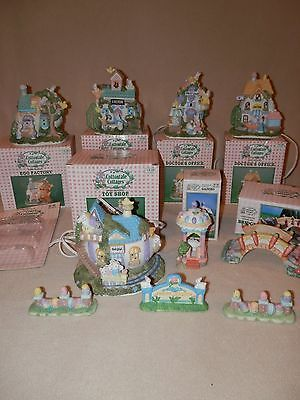 Set of 8 Vintage Cottontale Cottages Collectible Easter Village Hand Painted 199