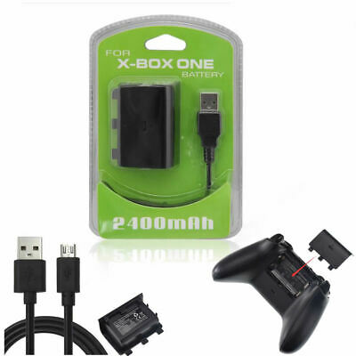 2400mAh Rechargeable Battery Pack + Charger USB Cable For Xbox One /S Controller