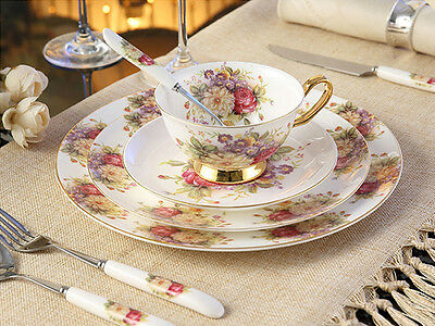 PSP2 Porcelain Fine Bone China Plate Cup Saucer Trios Tableware Dinner Set 8 Pcs