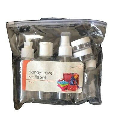 Holiday Travel Bottles Pack of 4 Clear Plastic Bottles With Reusable Bags