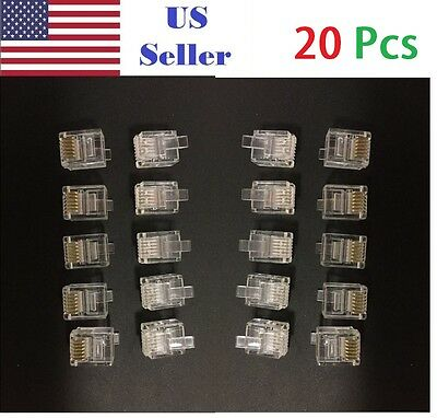 20PCs Amp 6-Wire Modular Phone Line Plugs 6P6C Gold Contacts RJ11,RJ12,RJ14,RJ25