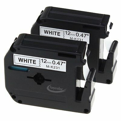 Anycolor 2 Pack 12mm Black on White M Tape Compatible Brother P-touch M231 MK231
