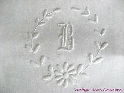 "*PERFECT* AnTiQuE BRIDAL LINEN Monogram B EMBROIDERED Bath TOWEL *24"" x 41"" WOW!"