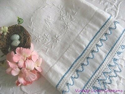 VINTAGE COTTAGE Damask Huck LINEN TEA TOWEL Embroidered Monogram N* CROCHET LACE