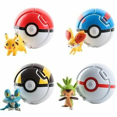 4PCS/Set Bounce Pokemon Throw Pokeball Cosplay Pop-up Elf Go Ball Kids Toys Lot