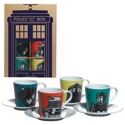 Doctor Who Porcelain Cup Mug Saucer Set Espresso Coffee Gift Boxed Set of 4