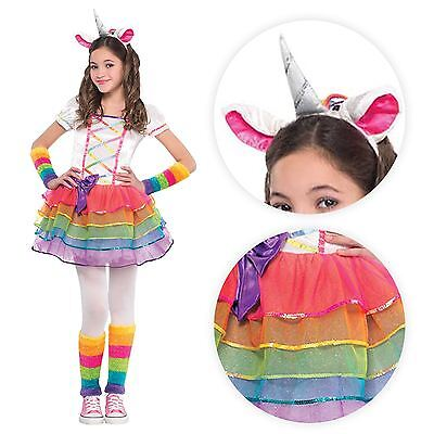 Girls Deluxe Rainbow Pony Unicorn Horn Pegasus Fancy Dress Tutu Headband Costume